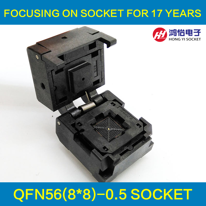 QFN56 MLF56 WLCSP56 Burn in Socket Adapter Pin Pitch 0.5mm IC Body Size 8x8mm NP506-056-027-C-G Clamshell Test Socket qfp176 tqfp176 lqfp176 burn in socket pitch 0 5mm ic body size 24x24mm otq 176 0 5 06 test socket adapter