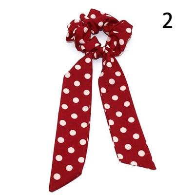 Модный летний шарф «конский хвост», эластичная лента для волос для женщин, бантики для волос, резинки для волос, резинки для волос с цветочным принтом, ленты для волос - Цвет: 002