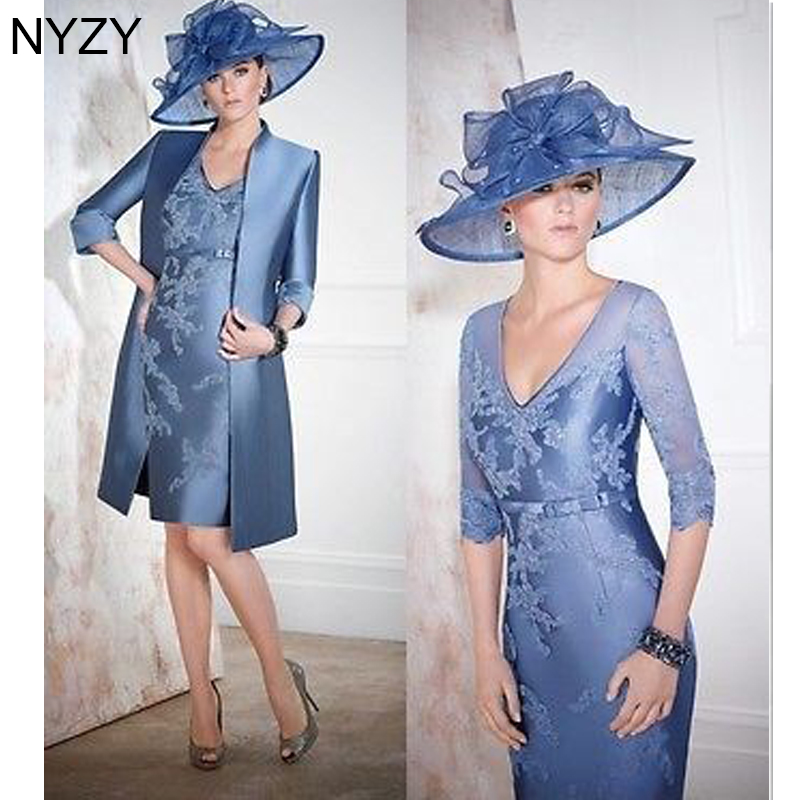 NYZY M9 Vintage V Neck 3/4 Sleeves Wedding Guest Wear Party Gown 2 Piece Mother Of The Bride Dresses With Jacket Coat 2019