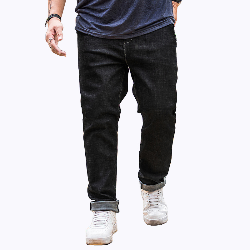 Mens Cotton Jeans Holes Denim Pants Regular Straight Loose Fit Fashion Washed Big Size for Male Casual trousers 30-42 44 46 48 regular fit plus size mens straight jeans classic blue drawstring waist oversize denim trousers s 7xl 29 48