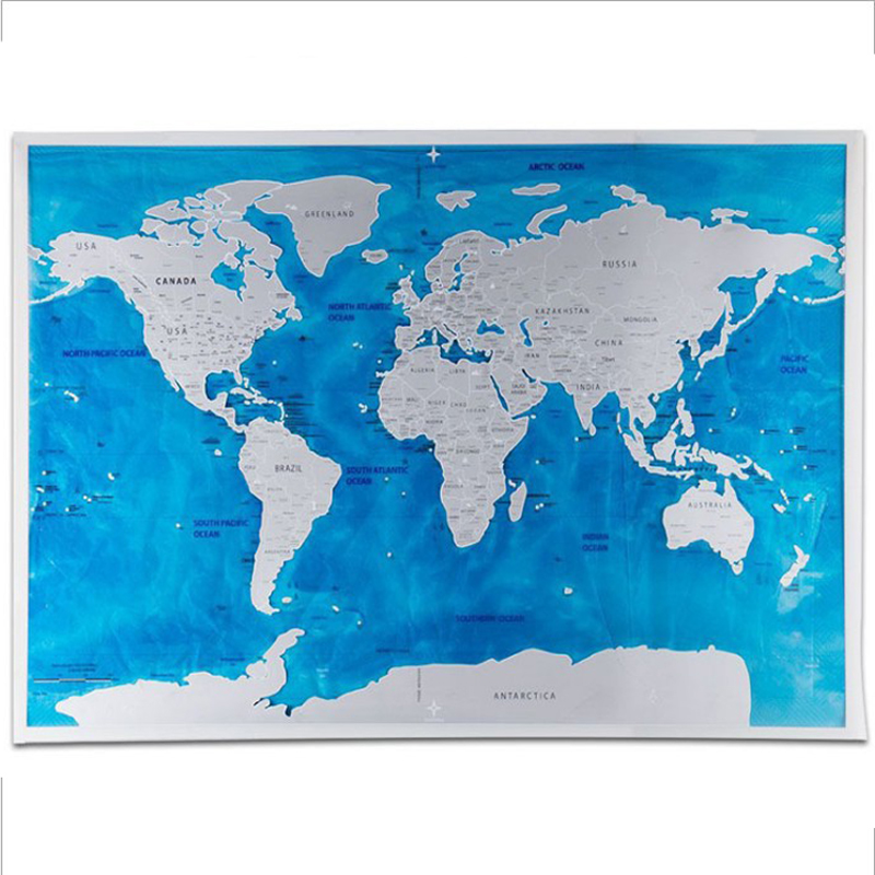 Scratch Off World Map Ocean Edition Travelers Explorers Gift Office Supplies Social Studies Materials Educational Accessories