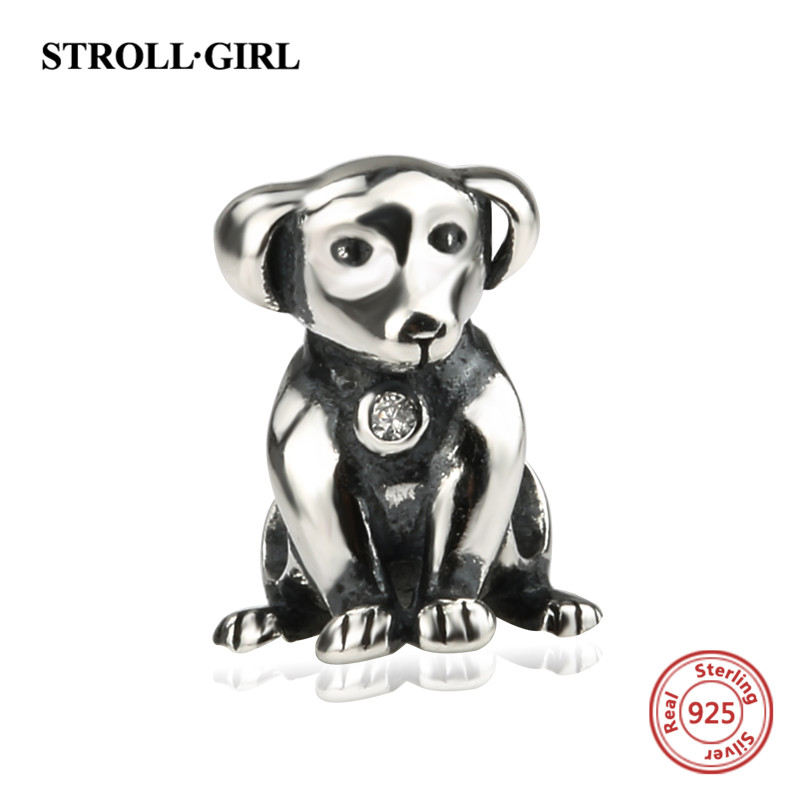 StrollGirl oxidation cute little dog charms 925 Sterling Silver animal beads Fit authentic pandora Bracelet jewelry making gifts