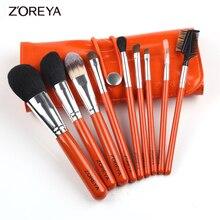 Zoreya Brand 9pcs/set Horse hair Makeup Brush set Oval Makeup Brushes as Makeup Brochas for Cosmetics Tool Kit Brushes Holder