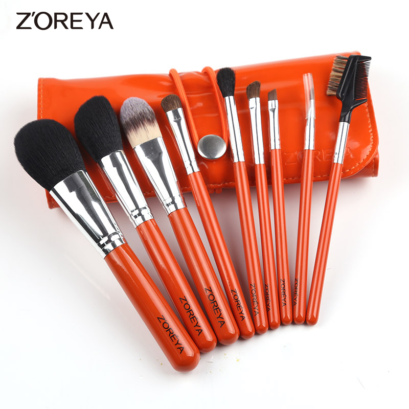 Zoreya Brand 9pcs/set Horse hair Makeup Brush set Oval Makeup Brushes as Makeup Brochas  for Cosmetics Tool Kit Brushes Holder