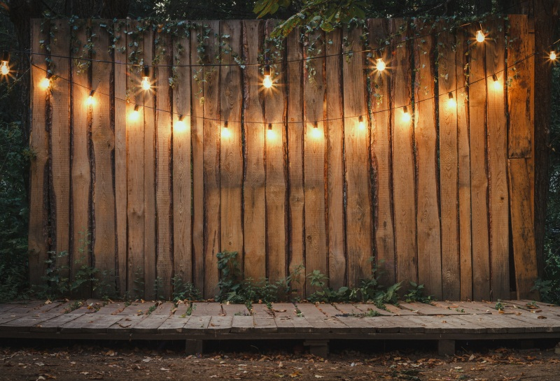 Laeacco lumineux lampes nuit bois planches photographie décors jardin scène personnalisé fête photographie arrière-plans pour Studio Photo