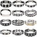 Fashion Men Women Punk Silver Link Black Stainless Steel Bracelet Rubber Cuff Chain Wristband