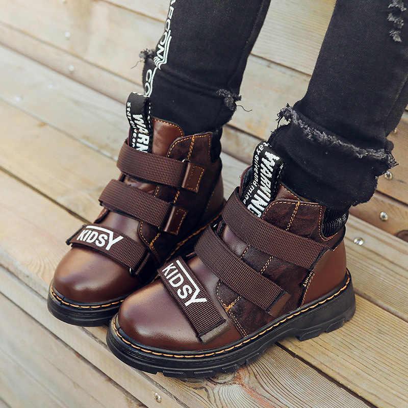 Зимняя куртка для мальчиков, ботинки, детская обувь для мальчиков натуральная кожа Модные ботинки martin кроссовки для студентов теплая детская Вельветовая одежда; зимние сапоги