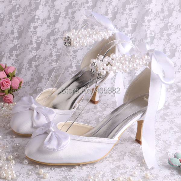 (20 Colors)Custom Color Wholesale Brand Wedding Shoes White for Women with Pearl Strap