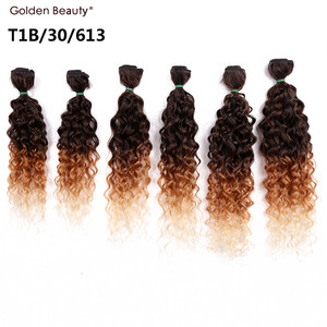 Image 2 - 14 18inch Ombre Burgundy Blonde Synthetic Weave Curly Hair Bundles Sew in Hair Extension For Black Women 6pcs/Pack Golden Beauty