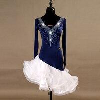 Blue Latin Dance Dress Women Long Sleeve Cha Cha Salsa Samba Competition Dresses Rumba Tango Performance Dancing Wear DC2488