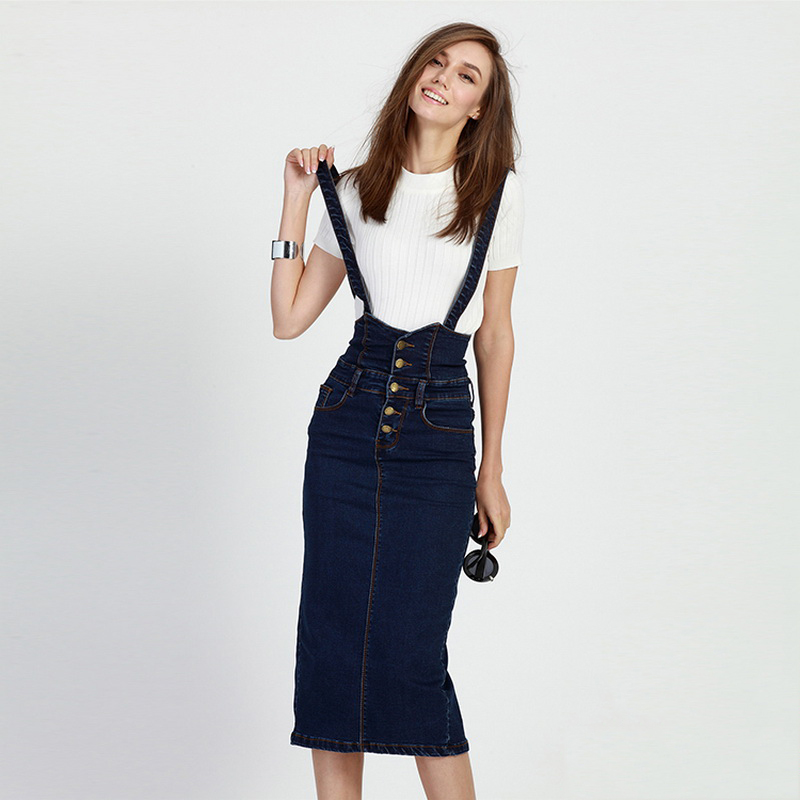 Style Fit Blue Denim Overall Jeans Dress Bodycon Long Plus Size ...