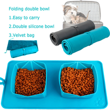 Silicone Double Bowl Travel Feeding Water Bowl Non-Skid Travel Mat For Pet Dog Cat Puppy Food Water Dish Food Feeder Container new dog cat bowls stainless steel food bowl travel feeding feeder water bowl anti skid dry food pet bowl drinking water dish