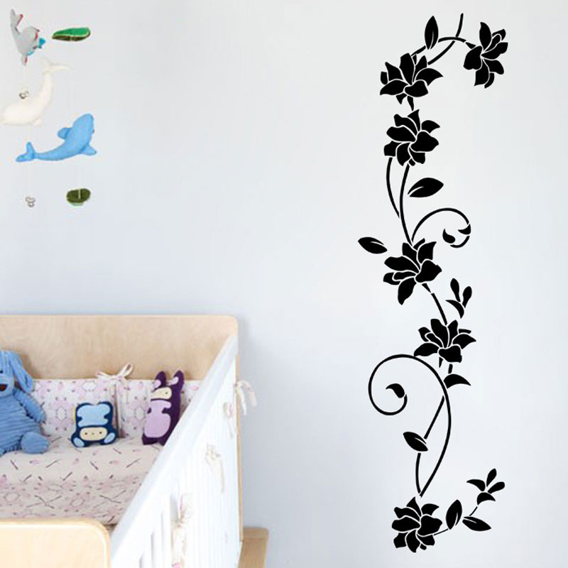 Black classic flower vine generation carved custom sticker Bedroom living room sofa home decor pvc wall sticker mural