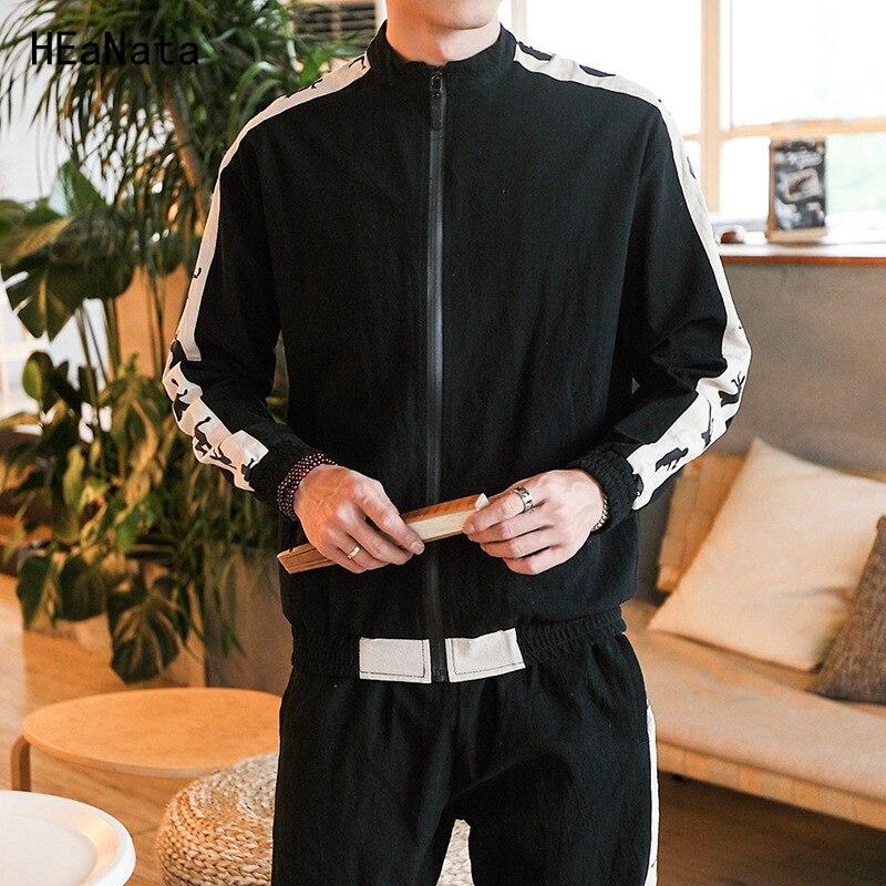 2018 Cotton Linen New Men Sets Fashion Autumn Spring Sporting Suit Sweatshirt Sweatpants Mens Clothing 2 Pieces Sets Tracksuit
