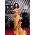 Long Mermaid Gold Selena Gomez Red Carpet Celebrity Dress Beaded Evening Dress 2017