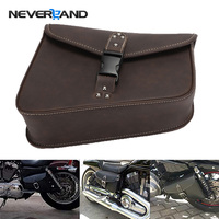 NEVERLAND Motorcycle PU Leather Left Right Side Tool Pouch Saddle Bags for Harley Sportster Softail Fatboy Universal D35