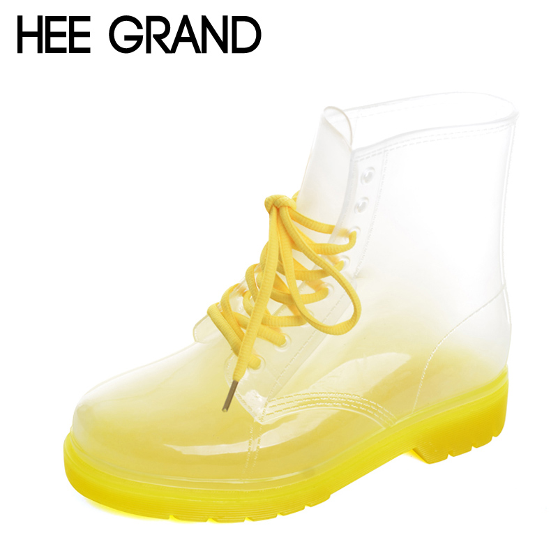 HEE GRAND 2017 New Women Rainboots Transparent Waterproof Boot Colorful Autumn Rubber Shoes Rainboot Woman Ankle Boots XWX195 hee grand soft transparent jelly women sandals flat with crystal colorful rhinestones butterfly knot beach shoes xwz3446