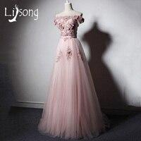 Modern Pink Evening Dress Long Off Shoulder Tulle A Line Evening Formal Gowns Vestido Longo De