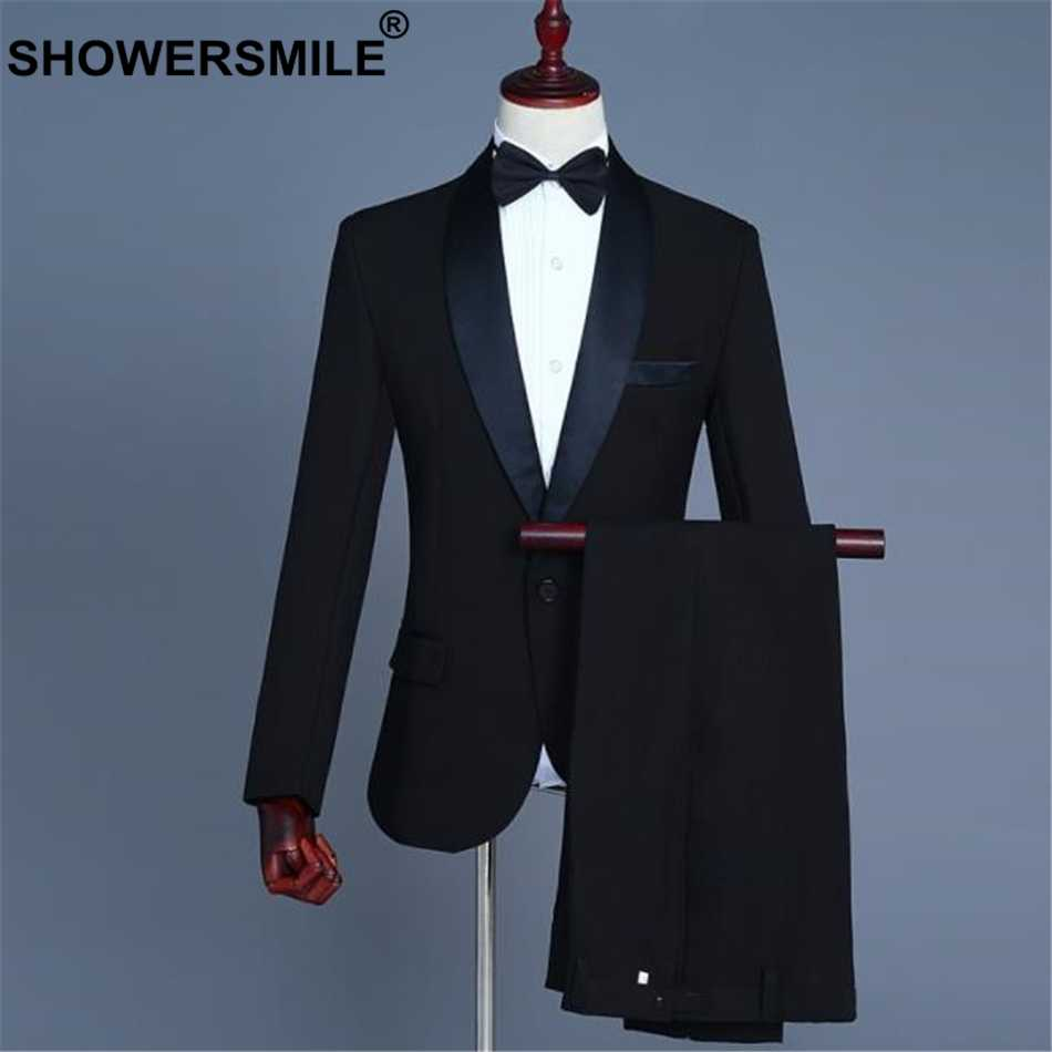 SHOWERSMILE Men's Dress Suits Jacket 3 Pieces Set Black Wedding Groom Costume Formal Mens Suits With Pants Slim Fit Blazer Suits