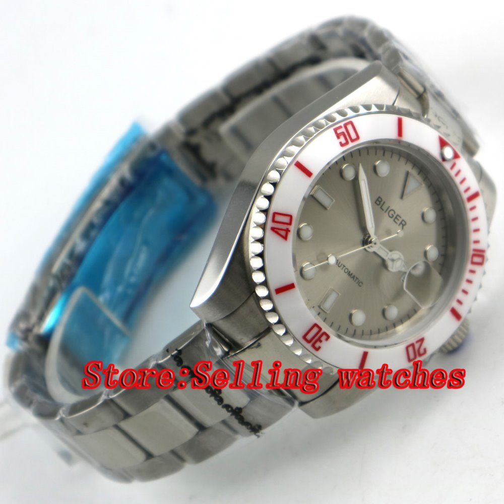 лучшая цена Bliger 40mm gray dial luminous saphire glass ceramic Bezel Automatic movement men's watch