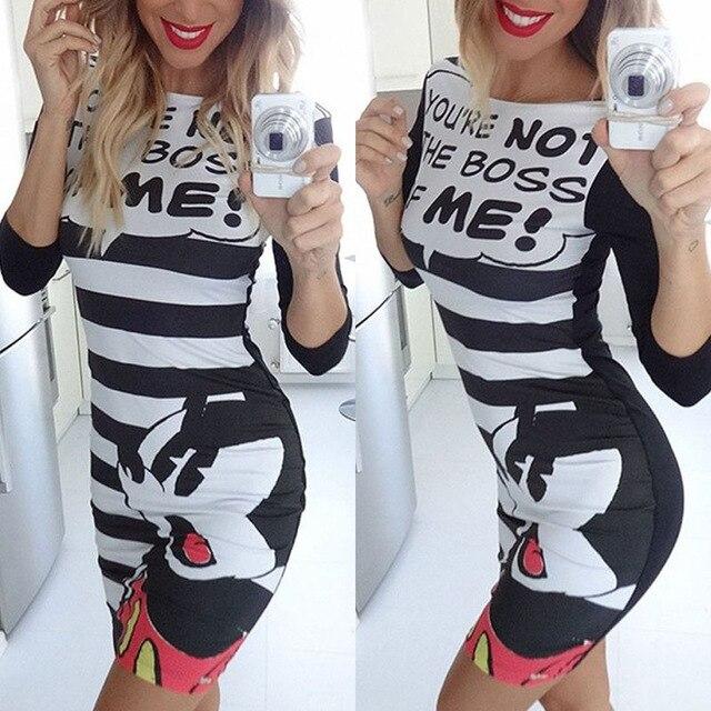 272f446df496 € 11.75 |2016 moda lindo Mickey Mini T camisa de vestir de verano personaje  de dibujos animados Sexy letras a rayas impreso Bodycon mujeres se ...
