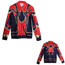 2018 Avengers Infinity War Spiderman Jacket HOODIE Cosplay Costume Sweat Baseball Pókember Superhero 3D Sport Halloween Party