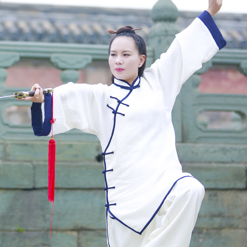 Wudang Tai Ji Blue Outlined Female Uniform 1