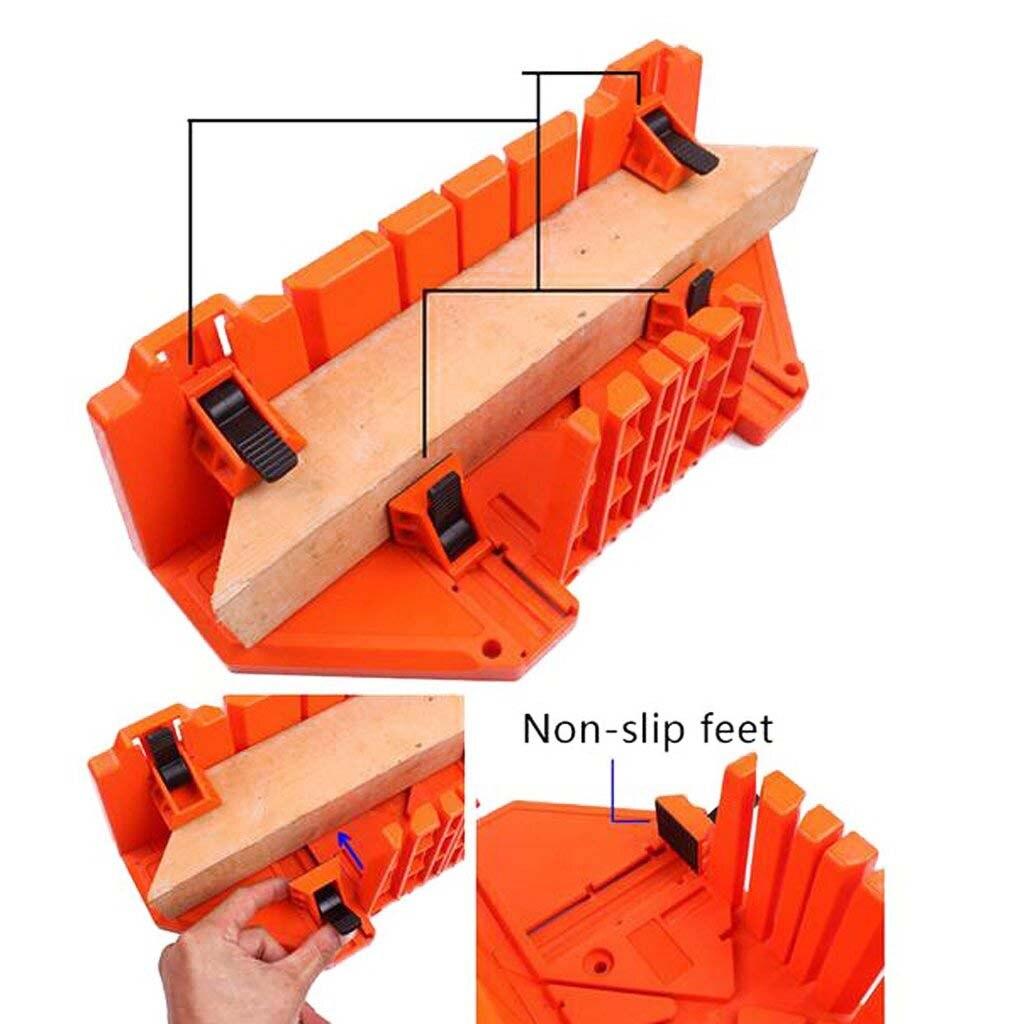 Wielofunkcyjny piła ukośna szafka 0/22. 5/45/90 stopni piła przewodnik do obróbki drewna pomarańczowy 14 cal ABS z tworzywa sztucznego Mitre Box z zaciskiem