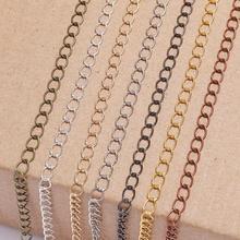 5 м/лот, 2,5, 2,8, 3,6, 4,8 мм, длинное кольцо с открытым звеном, удлиненное удлинение, ожерелье, цепочки, хвост, удлиняющая цепь для изготовления ювелирных изделий