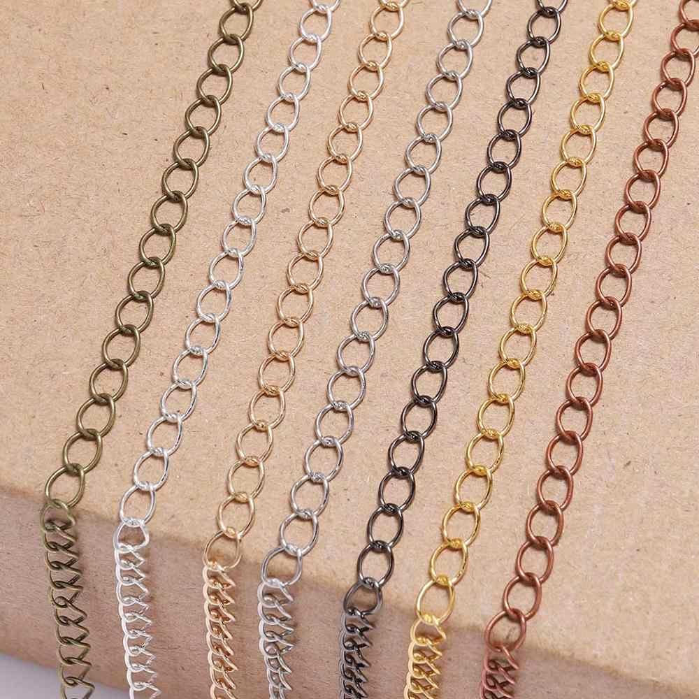 5 m/lote 2,5, 2,8, 3,6, 4,8mm de largo enlace abierto anillo de extensión cadenas collar cola extensor de cadena de joyería suministros de fabricación