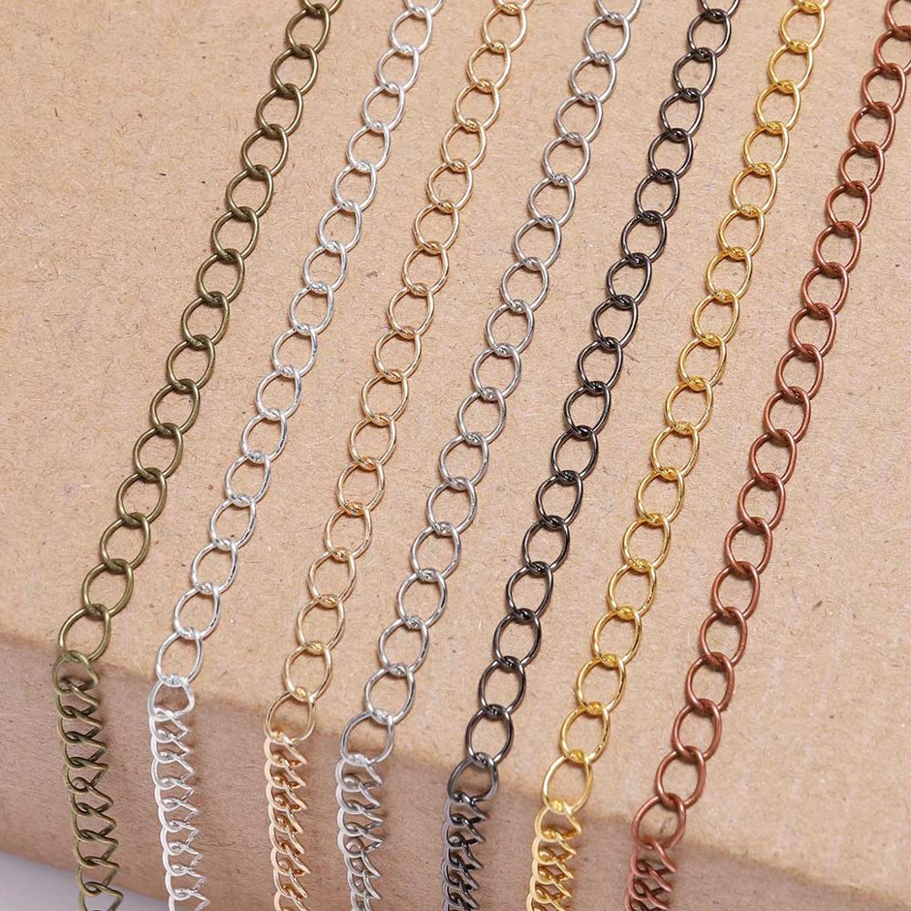 5m/lot 2.5 2.8 3.6 4.8 mm Long Open Link Ring Extended Extension Necklace Chains Tail Extender Chain For Jewelry Making Supplies
