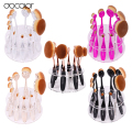Promotion!10 pcs/5 pcs Tooth Brush Shape Oval Makeup Brush Set MULTIPURPOSE Professional Foundation Powder Brush Kit holder