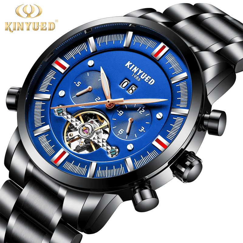 купить KINYUED Stainless Steel Automatic Men Watch Skeleton Luminous Waterproof Mens Mechanical Tourbillon Watches erkek kol saati по цене 2923.21 рублей