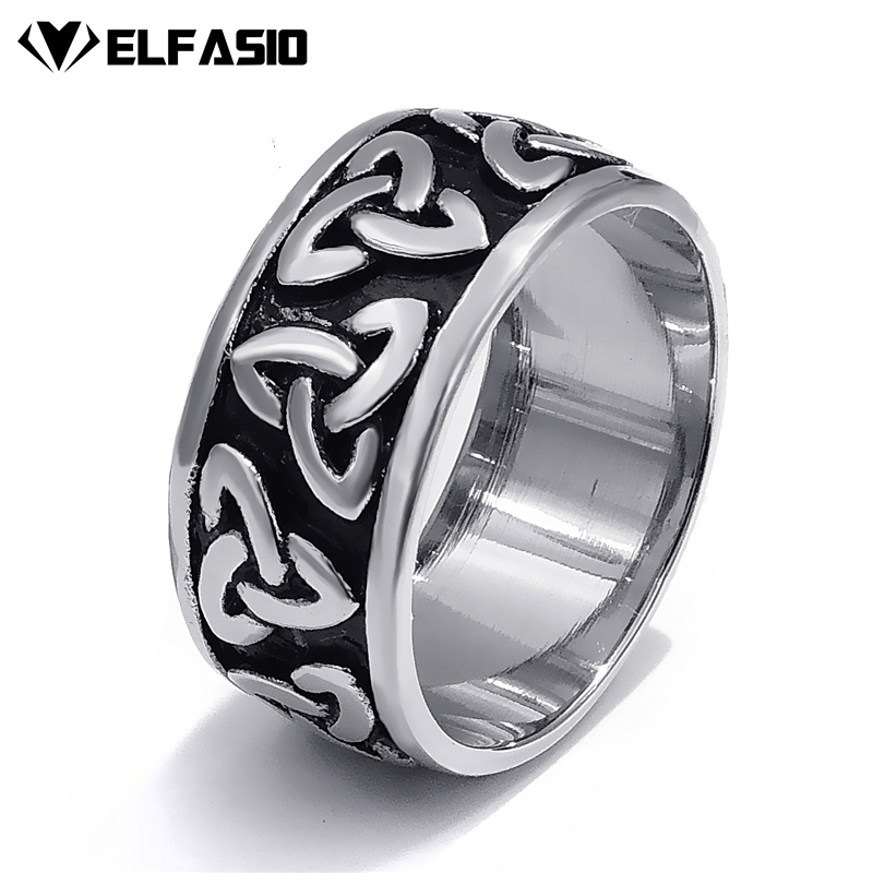10mm Mens Womens Stainless Steel Ring Band Silver Black Celtic Knot jewelry Szie 7-13 gj303 rhinestones 316l stainless steel couple s ring black silver size 9 7 2 pcs