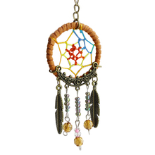 DreamCatcher Keychain Classical StyleTurquoise & Tree Leaf Keychain Ring DIY Bag Chain Jewelry Accessories Gift Free Shipping