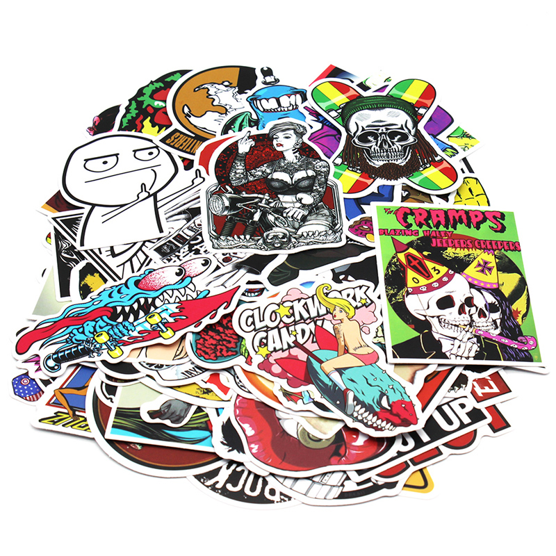 Image 4 - 200 PCS Random Vinyl Skateboard Travel Case Helmet Sticker Decal ATV Motorcycle Car Stickers Fashion Rossi Funny Sticker Bomb-in Decals & Stickers from Automobiles & Motorcycles