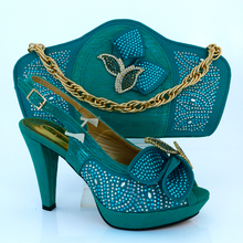 Italian style shoes and bag set for evening party with New Buckle,Matching shoes and bag for high heel MM1015 Teal color.