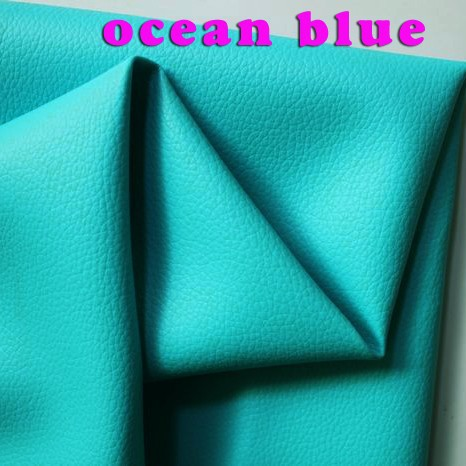Ocean Blue Small Lychee Pu Leather Faux Leather Fabric Pu Artificial
