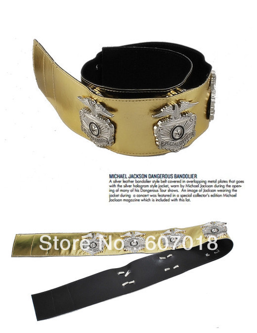 MJ Michael Jackson BAD Tour Metal Performance Military Golden Handmade Military Eagle Belt Collector's Edition Show