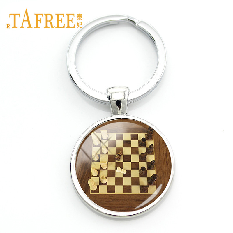 TAFREE International Chess Keychains Checkerboard Chess Pieces Glass Dome Pendant Bag Car Key Chain Ring Chess Lovers Gift CH17