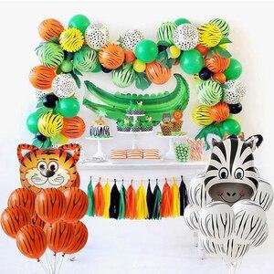 Image 2 - Safari Party Decor Babyshower Balloon Safari Balloons Set Foil Animal Balloons Jungle/Helium Birthday Animal Banner/Cake Toppers