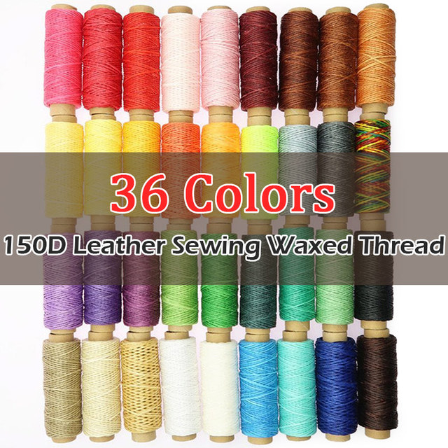 36 Colors 1mm Width 150D 50M, Leather Craft Sewing Waxed Thread, Shoe Flat Wax Wire String Hand Stitching Black Brown Yellow