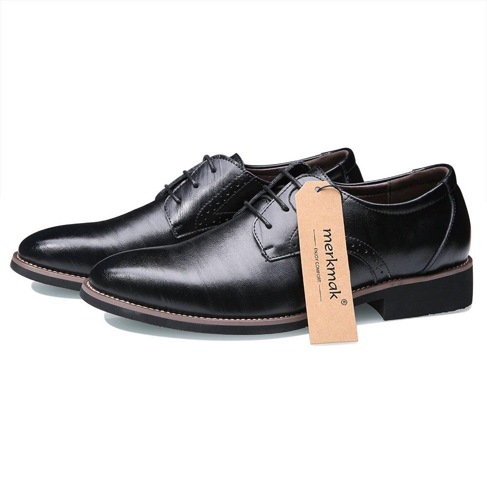 Men Brogues Shoes Lace Up Bullock Business Dress Men Oxfords Shoes