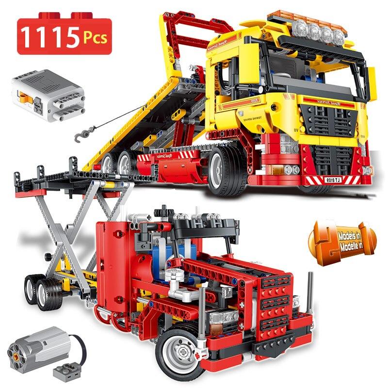 1115 pièces Technic moteur entraînement électrique camion plat bloc Compatible avec la déformation légotique véhicule briques de construction jouets enfants
