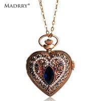 Madrry עתיק זהב צבע צורת לב תכשיטי קוורץ שעון כיס שרשרת ארוכה לנשים אביזרי בגדי שמלת סוודר