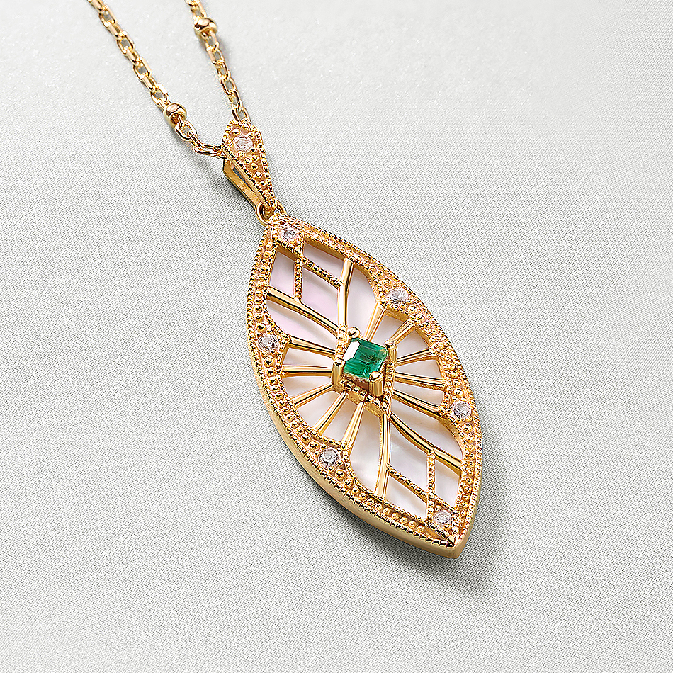 ALLNOEL Sweater Chain Long Necklaces Pendants For Women Handmade Costume Accessories Natural Emerald Stone Leaf Pendant Necklace (5)