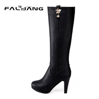 2017 Winter Fashion Knee High Boots Square Heel Round Toe Zipper High Heels Metal Decoration Star