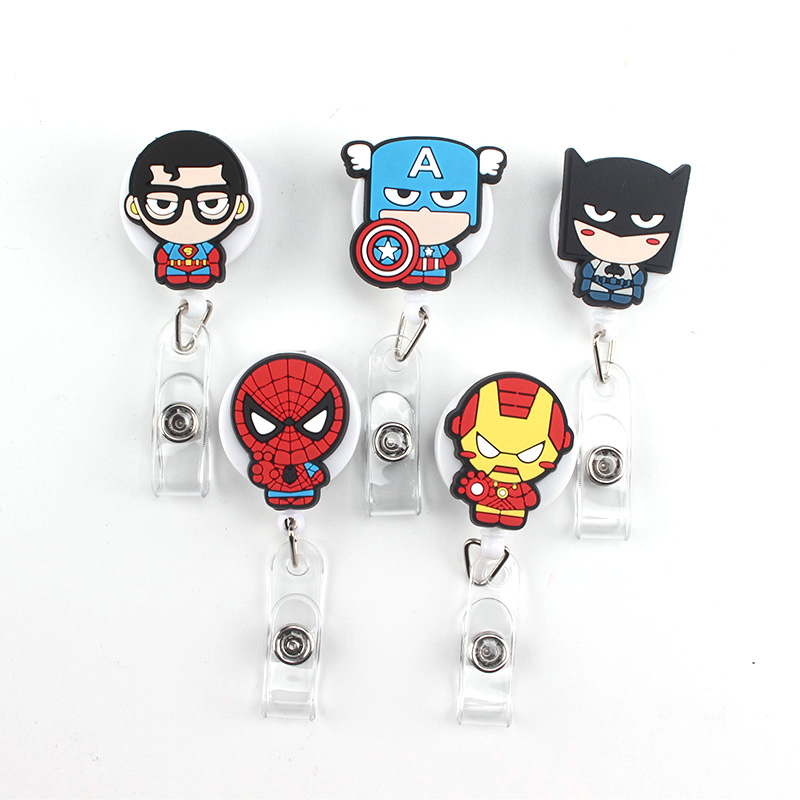 1 Pcs High Quality Silicone Cartoon  Retractable Badge Reel Student Employee ID Name Card Bus Card Badge Holder Office Supplies