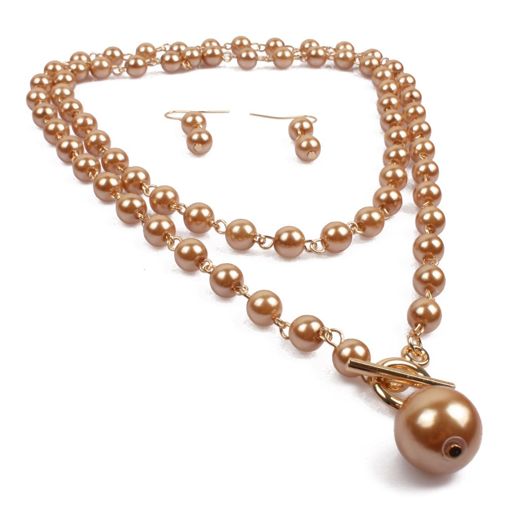 large drop pearl pendant necklace earrings set