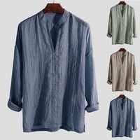 JAYCOSIN Shirts Men Linen Casual Hawaii Shirt Button Pure Color Long Sleeve Mandarin Collar Blouse Beach Loose Shirts Man May18